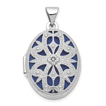 14K White Gold 21mm Diamond Vintage Oval Locket