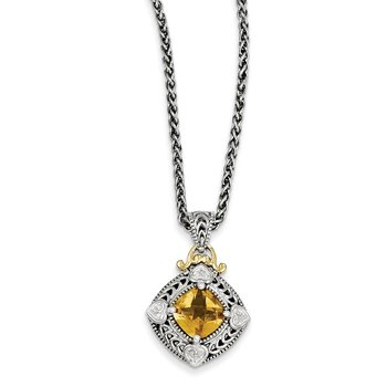 Sterling Silver w/14k Diamond & Citrine Necklace