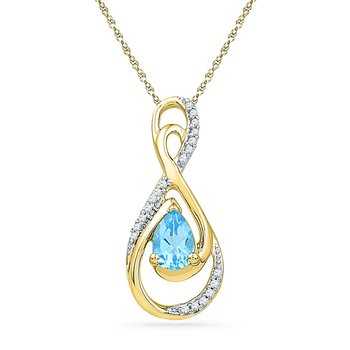 10kt Yellow Gold Womens Oval Lab-Created Blue Topaz Solitaire Diamond Teardrop Pendant 3/4 Cttw