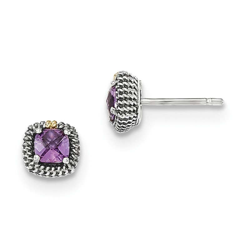 Shey Couture Sterling Silver w/14k Square Cushion Amethyst Post Earrings