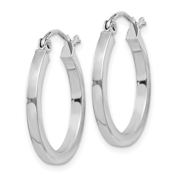 Sterling Silver Rhodium-plated 2x20mm Square Tube Hoop Earrings