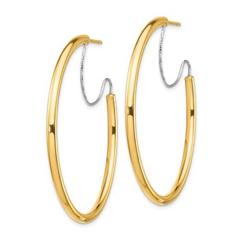 14K 2.5x40mm Polished with D/C wire Hoop Earrings