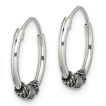 Sterling Silver Antiqued Beaded Endless Hoop Earrings
