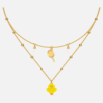 Line Friends Tennis Layered Necklace, Light multi-colored, Gold-tone plated