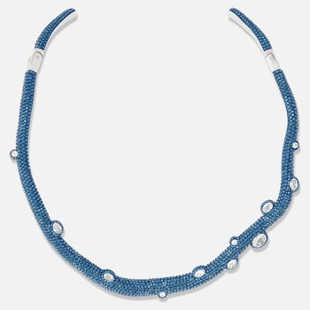 Tigris Torque Necklace, Aqua, Palladium plated