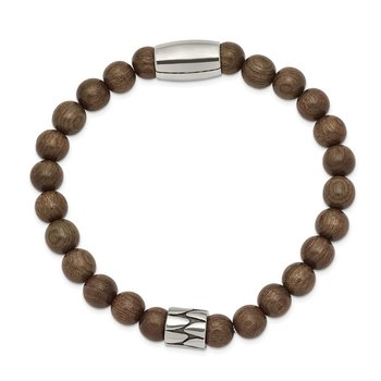 Stainless Steel Stretch Antiqued & Polished Dark Brown Phoebe Wood Bracelet