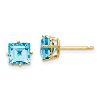 14k 6mm Princess Cut Blue Topaz Earrings
