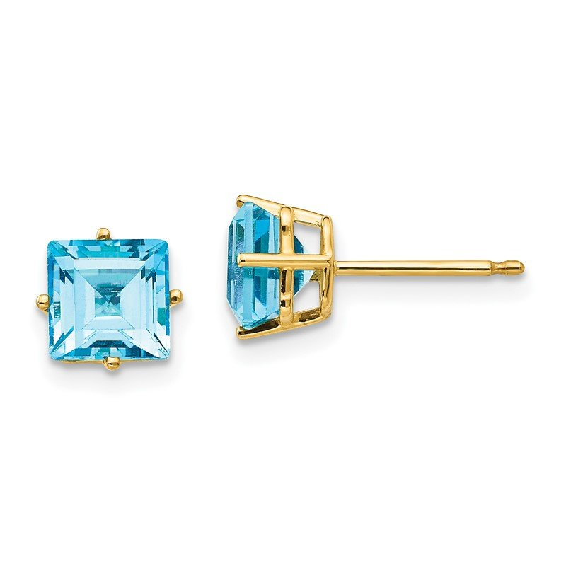 Quality Gold 14k 6mm Princess Cut Blue Topaz Earrings