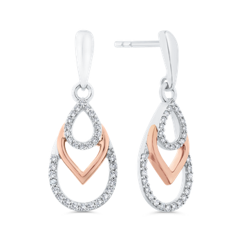Round Cut Diamond 10K Two-Tone Gold Drop Earrings