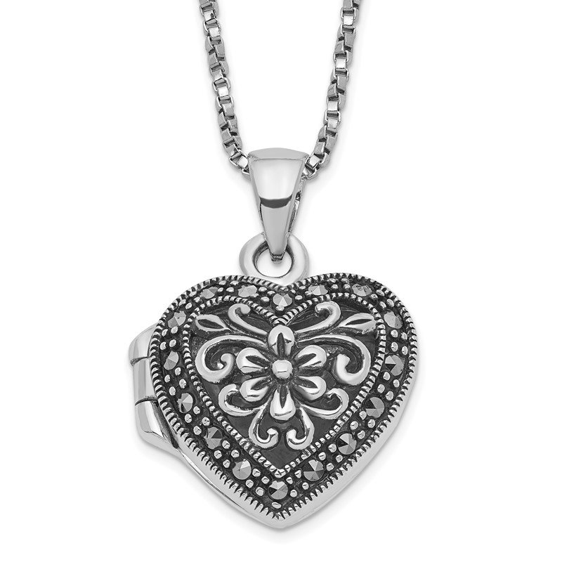 Quality Gold Sterling Silver Floral Pattern Marcasite Heart Locket 18 inch Necklace