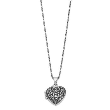 Sterling Silver Floral Pattern Marcasite Heart Locket 18 inch Necklace
