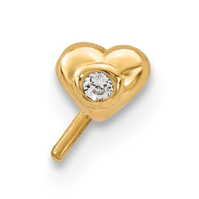 Quality Gold 14k CZ Heart Nose Stud