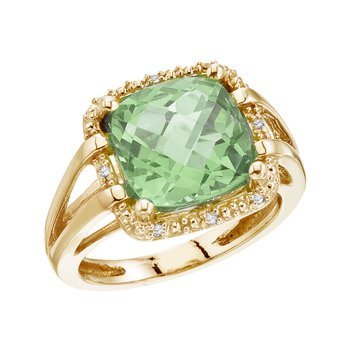 14K Yellow Gold 10 mm Green Amethyst and Diamond Rope Ring