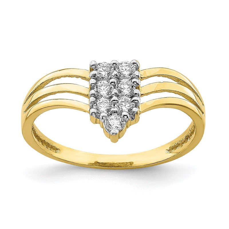 Quality Gold 10K CZ 3-Line Ring