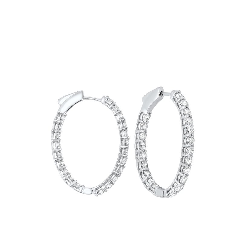 Gems One In-Out Diamond Hoop Earrings in 14K White Gold (3 ct. tw.) I2/I3 - H/K