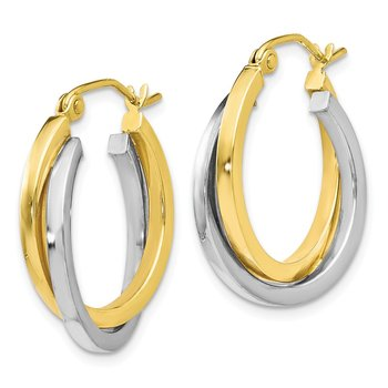 Leslie's 10K Two-tone Polished Hinged Hoop Earrings
