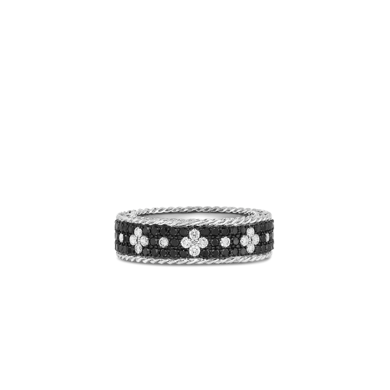 Roberto Coin 18Kt Gold Ring With Black And White Fleur De Lis Diamonds