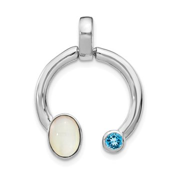 Sterling Silver Mother of Pearl & Lt. Swiss Blue Topaz Circle Pendant