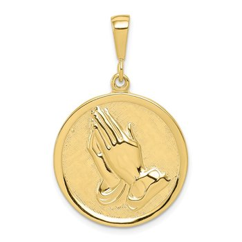 10k Praying Hands Reversible with Serenity Prayer Pendant