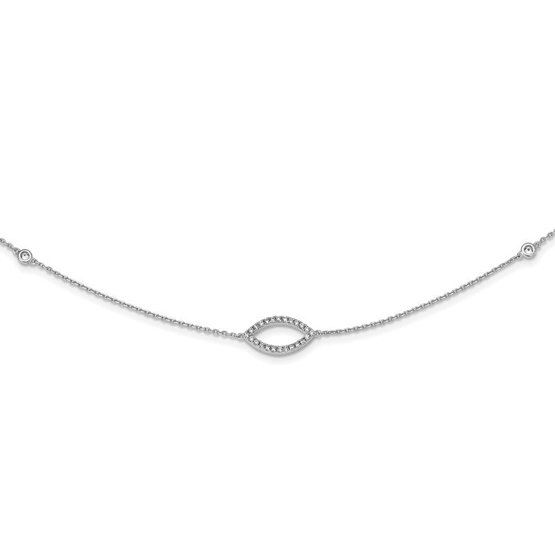 Quality Gold Sterling Silver 4 CZ stations & 3 CZ Open Designs 18in Necklace
