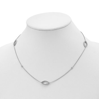 Sterling Silver 4 CZ stations & 3 CZ Open Designs 18in Necklace