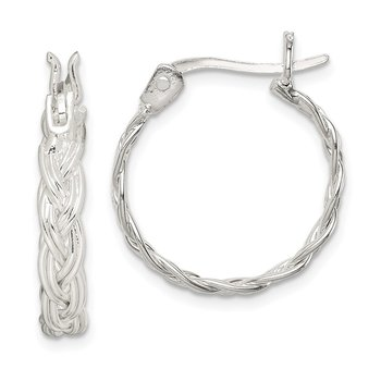 Sterling Silver Twisted Weave Hoop Earrings
