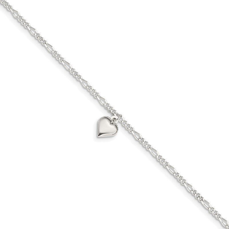 Sterling Silver Polished Heart 9 in Plus 1in ext. Anklet