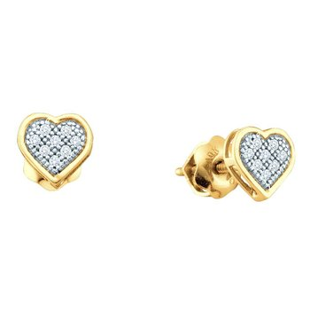 Yellow-tone Sterling Silver Womens Round Diamond Heart Screwback Earrings 1/20 Cttw