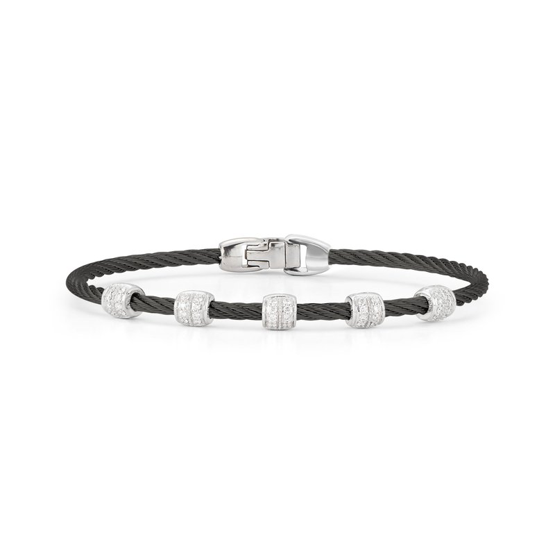 ALOR Black Cable Multi Station Stackable Bracelet with 18kt White Gold & Diamonds