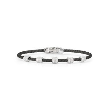 Black Cable Multi Station Stackable Bracelet with 18kt White Gold & Diamonds