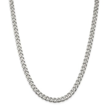 Sterling Silver Rhodium-plated 7mm Curb Chain