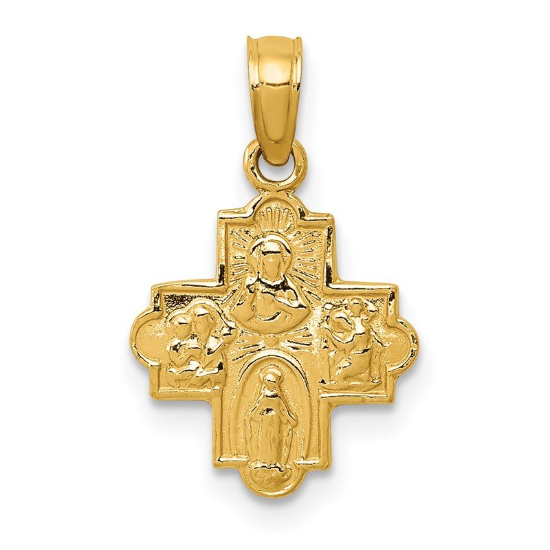 Quality Gold 14k Miniature Four Way Medal Pendant