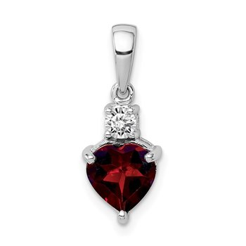 Sterling Silver Rhodium-plated Heart Garnet & White Topaz Pendant