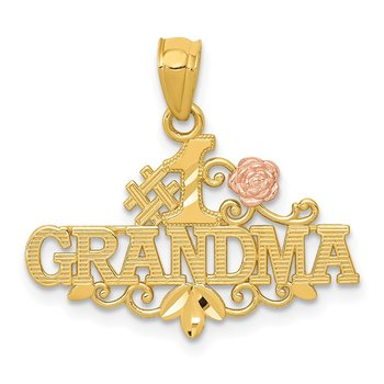 14k Yellow & Rose Diamond-cut #1 GRANDMA w/Rose Pendant