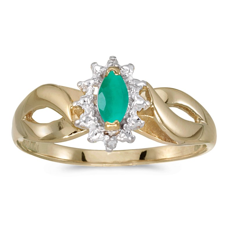Color Merchants 14k Yellow Gold Marquise Emerald And Diamond Ring