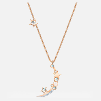 Starry Night Moon Necklace, White, Rose-gold tone plated
