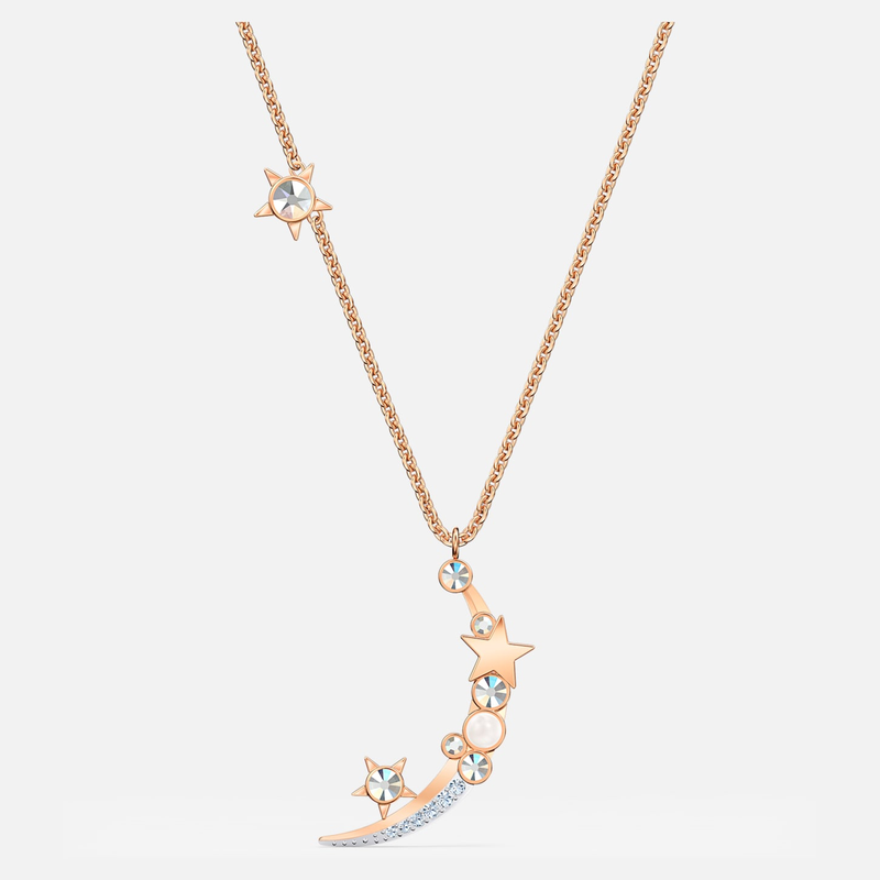 Swarovski Starry Night Moon Necklace, White, Rose-gold tone plated
