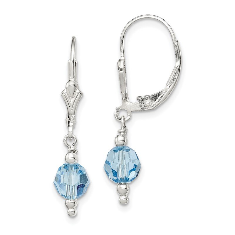 Quality Gold Sterling Silver Blue Swarovski Crystal Leverback Earrings