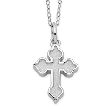 Sterling Silver Matted Cross Ash Holder 18in. Necklace