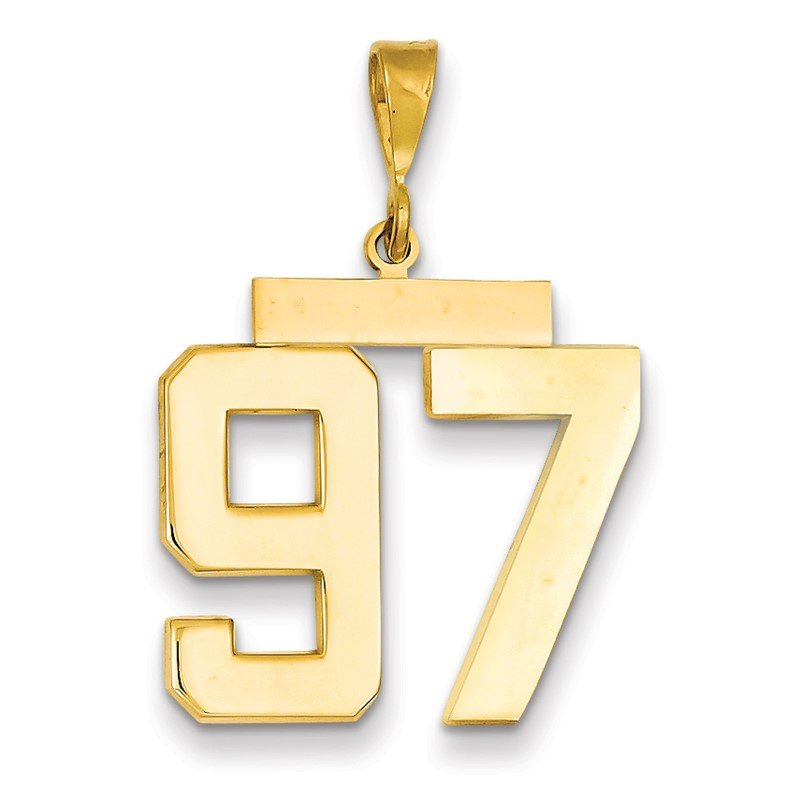 Quality Gold 14k Large Polished Number 97 Charm