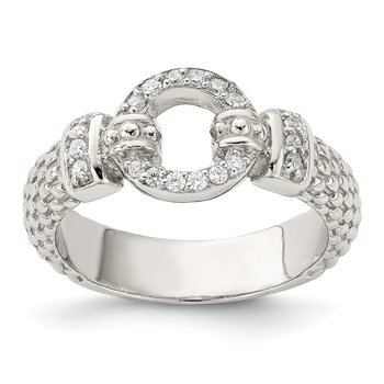 Sterling Silver CZ Textured Ring