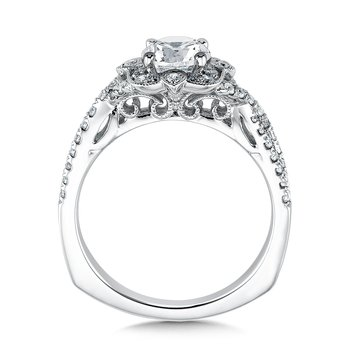 Floral shape halo .31 ct. tw., 3/4 ct. round center