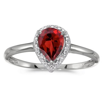 10k White Gold Pear Garnet And Diamond Ring