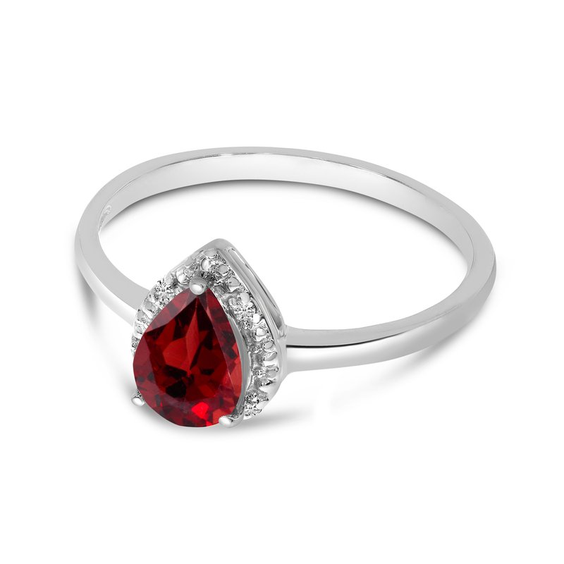 Color Merchants 10k White Gold Pear Garnet And Diamond Ring