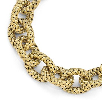 Leslie's Sterling Silver Gold-plated Polished Textured Link Bracelet
