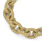 Leslie's Leslie's Sterling Silver Gold-plated Polished Textured Link Bracelet