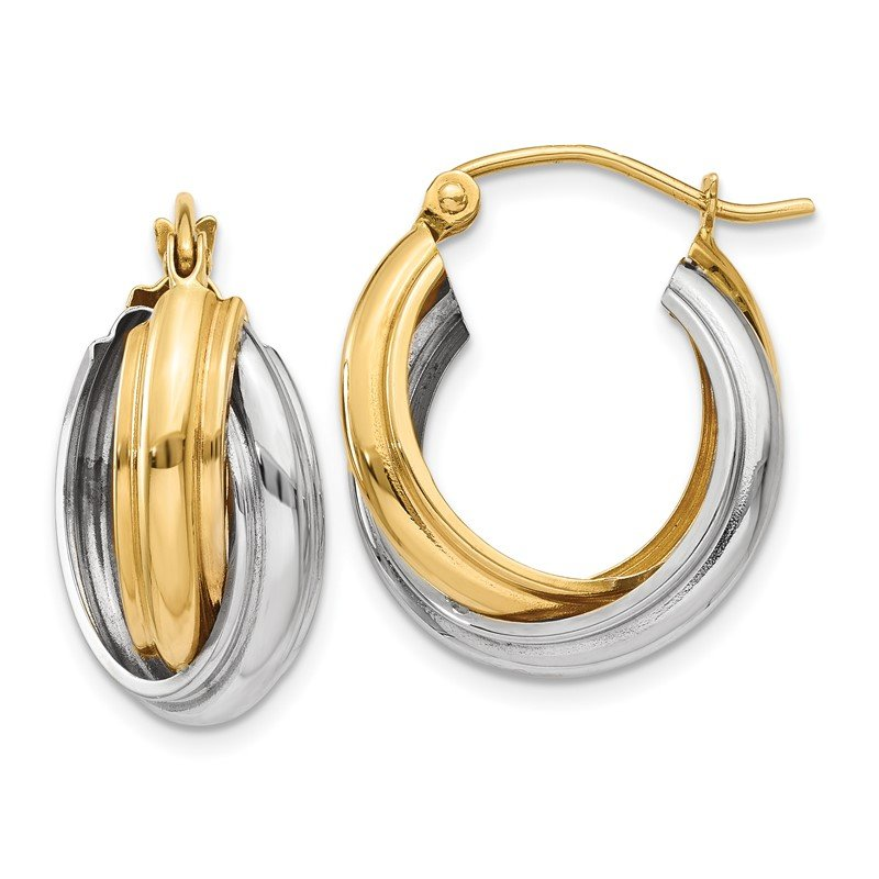 Quality Gold 14k Two-tone Polished Double Hoop Earrings