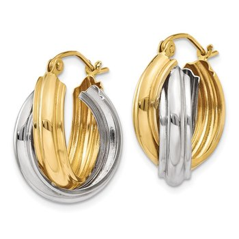 14k Two-tone Polished Double Hoop Earrings