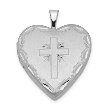 Sterling Silver Rhodium-plated 20mm Satin & D/C Cross Heart Locket
