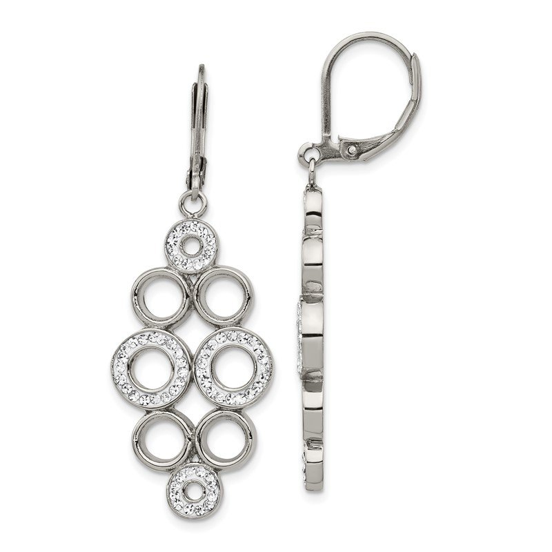 Chisel Stainless Steel Polished w/Preciosa Crystal Leverback Dangle Earrings